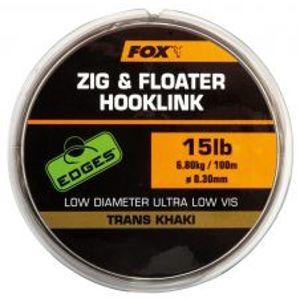 Fox Edges Zig & Floater Hooklink Trans Khaki 100 m-Priemer 0,28 mm / Nosnosť 5,44 kg