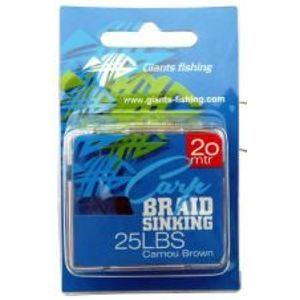 Giants Fishing náväzcová Šnúrka Carp Braid Sinking 20 m Camou Brown-Nosnosť 25 lb