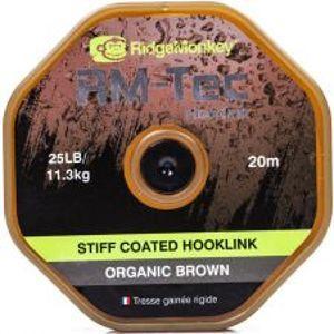 RidgeMonkey Návazcová Šnúrka RM Tec Stiff Coated Hooklink 20 m Hnedá-Nosnosť 35 lb